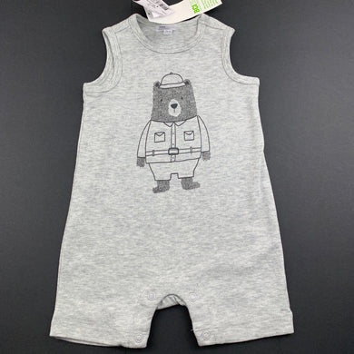 Boys Anko Baby, grey soft feel romper, bear, NEW, size 00