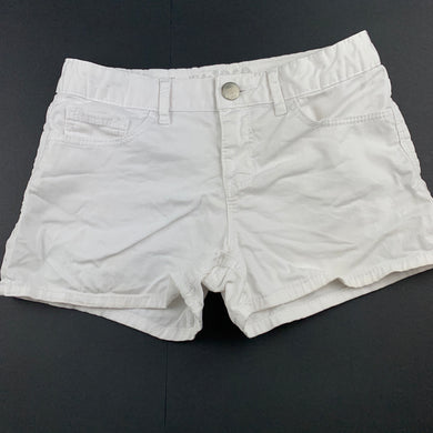 Girls Gap, white stretch cotton shorts, adjustable, FUC, size 14