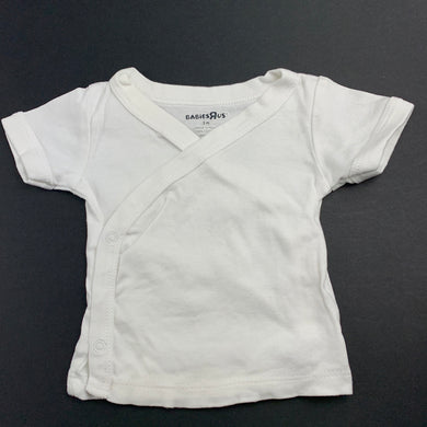 Unisex Babies R Us, white cotton cross-over top, GUC, size 000,