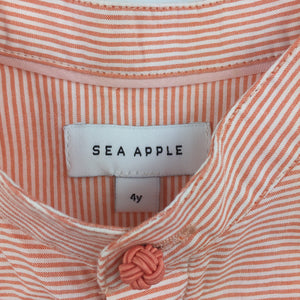 Boys Sea Apple, stripe cotton short sleeve shirt, EUC, size 4