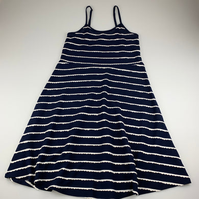 Girls Gum, navy & white lightweight summer dress, GUC, size 14, L: 84cm approx