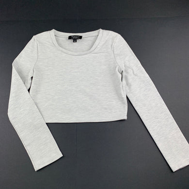 Girls Bardot Junior, grey marle long sleeve cropped top, L: 31cm, EUC, size 8,