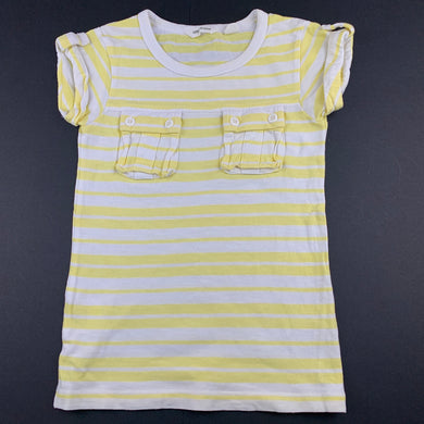 Girls Country Road, yellow & white stripe cotton t-shirt / top, GUC, size 3,