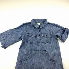 Load image into Gallery viewer, Girls Big by Fiona Scanlan, denim shirt dress, roll tab sleeves, GUC, size 4