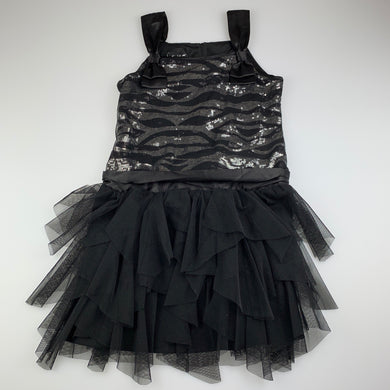 Girls Biscotti, black tulle & sequin party dress, GUC, size 8, L: 67cm approx