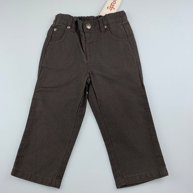 Boys Sprout, dark brown cotton pants, elasticated, Inside leg: 28cm, NEW, size 1,