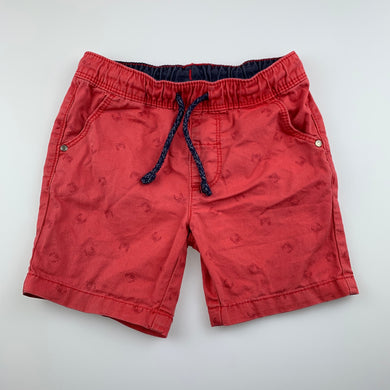Boys Sprout, red cotton shorts, elasticated, crabs, FUC, size 1,