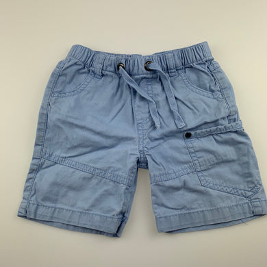 Boys Sprout, blue lightweight cotton shorts, elasticated, FUC, size 2,