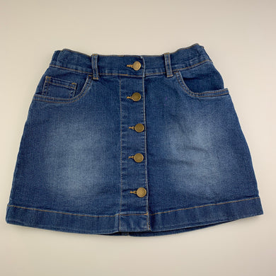 Girls Anko, blue stretch denim skirt, adjustable, L: 32cm, FUC, size 10,
