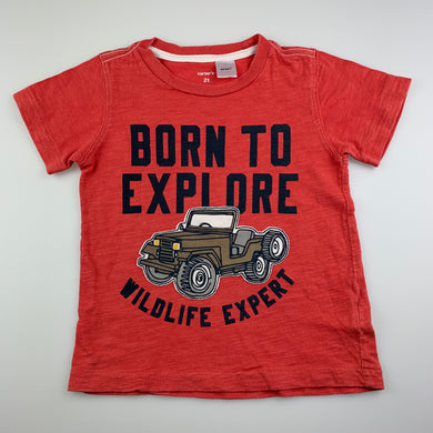 Boys Carter's, cotton t-shirt / top, explore, FUC, size 2,
