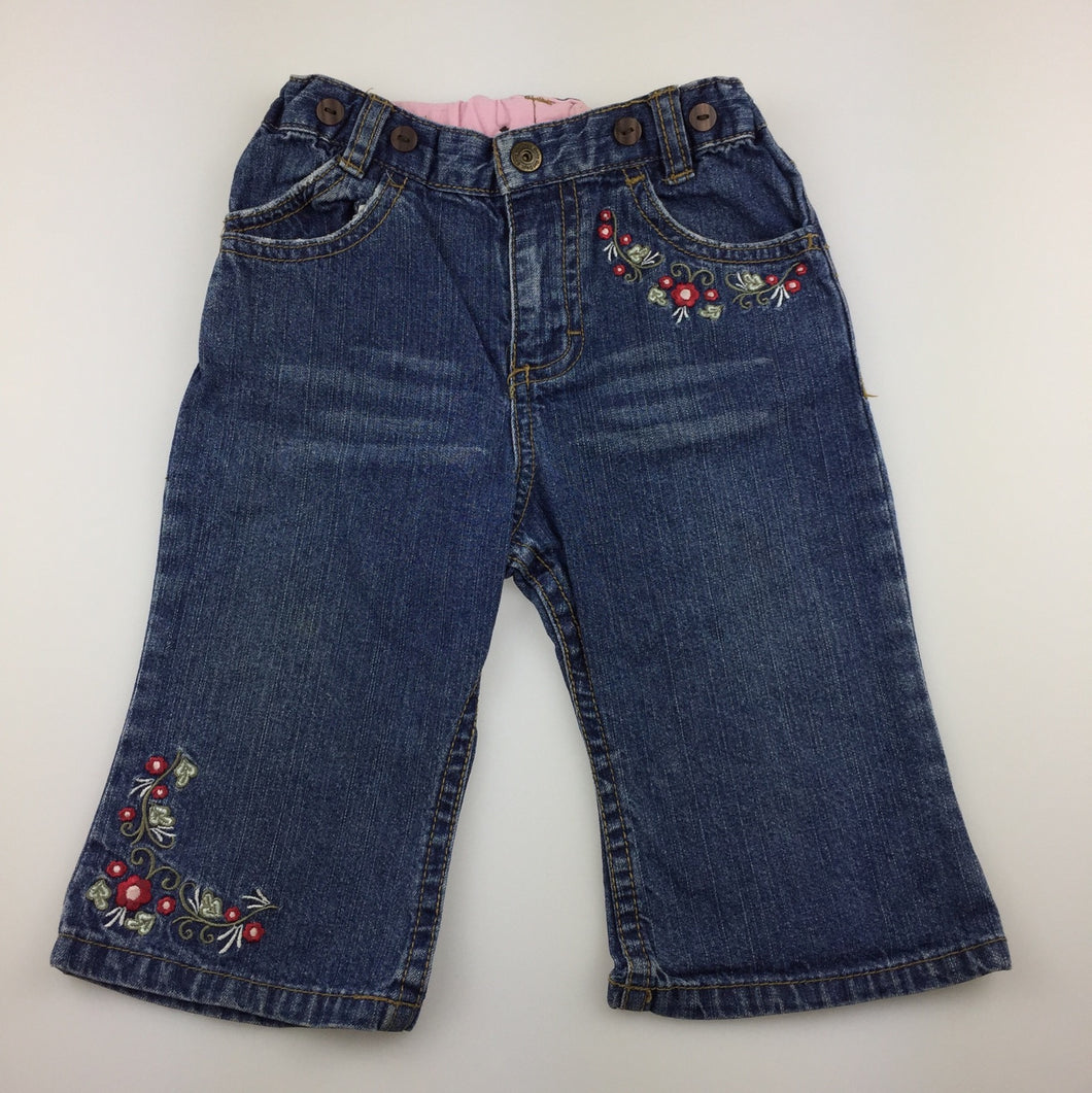 Girls H&M, blue denim jeans, embroidered, elasticated, GUC, size 0