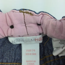 Load image into Gallery viewer, Girls H&M, blue denim jeans, embroidered, elasticated, GUC, size 0