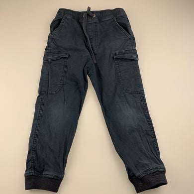 Boys Country Road, blue stretch cotton casual pants, elasticated, Inside leg: 39cm, FUC, size 5,