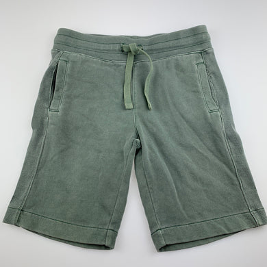Boys Country Road, green knit cotton shorts, elasticated, wash faded, FUC, size 6,