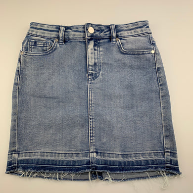 Girls Seed, blue stretch denim skirt, W: 62cm, L: 36cm, EUC, size 10,