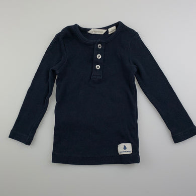Unisex Country Road, navy stretchy henley top, GUC, size 00,