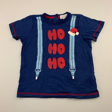 Boys Pumpkin Patch, blue cotton Christmas t-shirt / top, GUC, size 2,