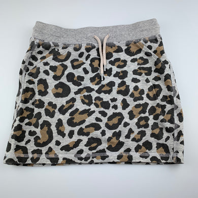 Girls Seed, leopard print knit cotton casual skirt, wash faded, FUC, size 9-10,