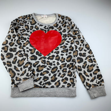 Girls Seed, leopard print cotton sweater / jumper, wash faded, FUC, size 9-10,