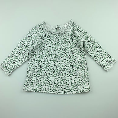Girls Anko Baby, floral soft cotton long sleeve top, GUC, size 00,