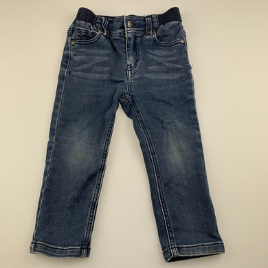 Boys Sprout, stretchy denim pants, elasicated, Inside leg: 31cm, FUC, size 2,