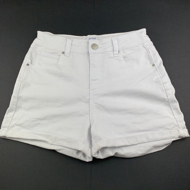 Girls Cotton On, white stretch denim shorts, adjustable, GUC, size 14,