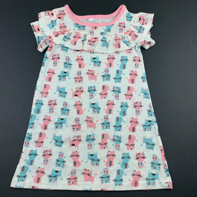 Girls 123, lightweight cotton casual dress, cats, EUC, size 1, L: 44cm approx