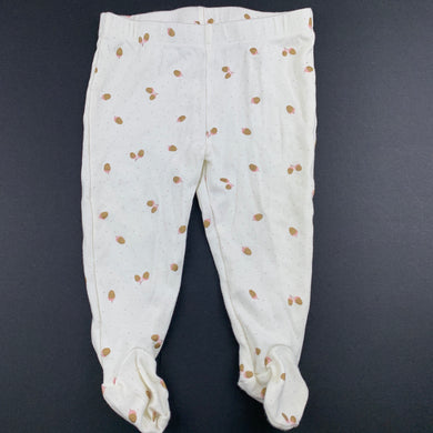 Girls Anko Baby, cream cotton footed leggings / bottoms, EUC, size 0,