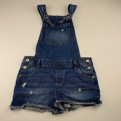 Girls 1964 Denim Co, distressed denim overalls / shortalls, GUC, size 14,
