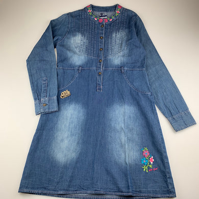 Girls 612 League, lightweight denim long sleeve casual dress, GUC, size 11-12, L: 79cm approx