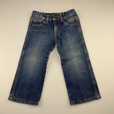 Boys Pumpkin Patch, blue denim jeans, adjustable, Inside leg: 35cm, FUC, size 2,