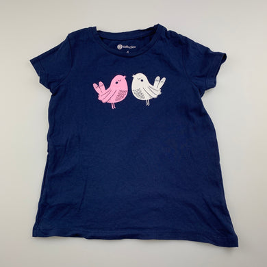 Girls B Collection, navy cotton t-shirt / top, birds, GUC, size 4,