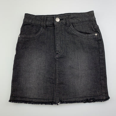 Girls 1964 Denim Co, black stretch denim skirt, L: 34cm, EUC, size 12,