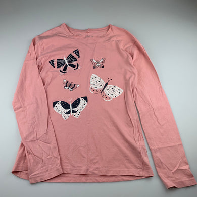 Girls Clothing & Co, pink cotton long sleeve t-shirt / top, butterflies, GUC, size 14,