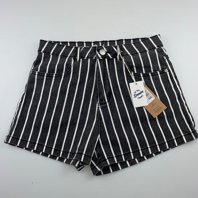 Girls 1964 Denim Co, striped stretch cotton shorts, W: 66cm, NEW, size 16,