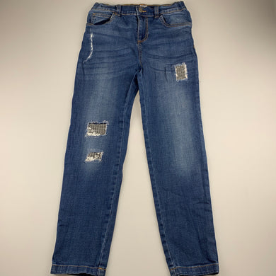 Girls Clothing & Co, distressed stretch denim jeans, adjustable, Inside leg: 60.5cm, EUC, size 12,