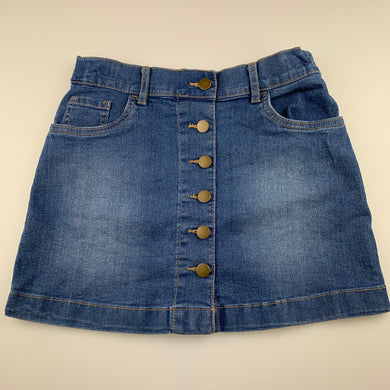 Girls Anko, blue stretch denim skirt, adjustable, L: 34cm, GUC, size 12,