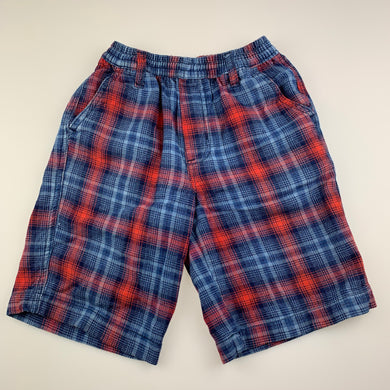Boys Cool Kids, blue & red check cotton shorts, elasticated, GUC, size 5-6,