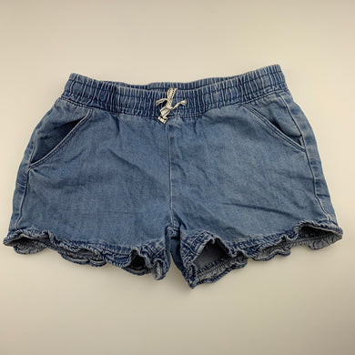Girls Clothing & Co, blue denim shorts, elasticated, GUC, size 14,