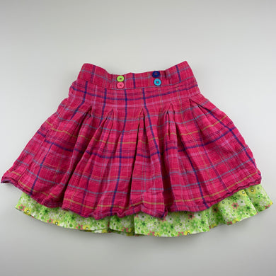Girls Bluezoo, colourful check & floral skirt, elasticated, GUC, size 5-6,