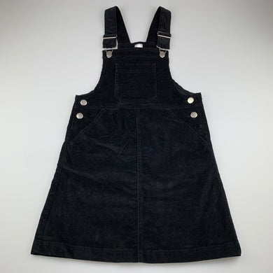 Girls Anko, black stretch corduroy pinafore / overalls dress, EUC, size 12, L: 76cm approx