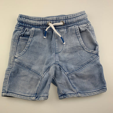 Boys Anko, blue stretch knit denim shorts, elasticated, GUC, size 1,
