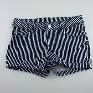 Girls Clothing & Co, navy stripe stretch cotton shorts, adjustable, GUC, size 7,