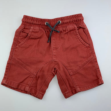 Boys Anko, rust casual shorts, elasticated, FUC, size 2,