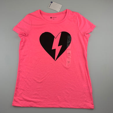 Girls B Collection, pink lightweight t-shirt / top, heart, NEW, size 14,