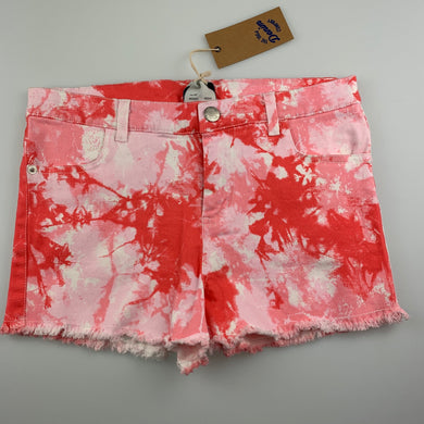 Girls 1964 Denim Co, coral tie dyed stretch cotton shorts, W: 70cm, NEW, size 14,