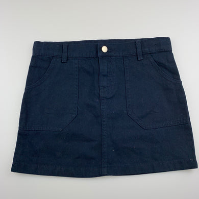 Girls Anko, navy denim skirt, adjustable, EUC, size 9,