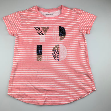 Girls Anko, pink stripe cotton t-shirt / top, sequins, EUC, size 12,