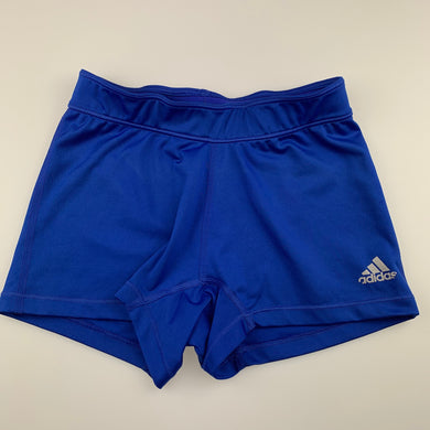 Girls Adidas, blue sports, activewear shorts, elasticated, FUC, size 8-9,
