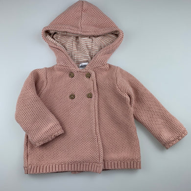 Girls Anko Baby, lined knitted cotton hooded cardigan / sweater, GUC, size 0,